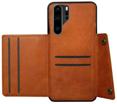 ADEL Kunstleren Back Cover Pasjeshouder Hoesje voor Huawei P30 Pro - Bruin