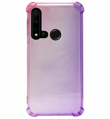 ADEL Siliconen Back Cover Softcase Hoesje voor Huawei P20 Lite (2019) - Kleurovergang Roze Paars