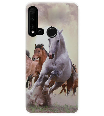 ADEL Siliconen Back Cover Softcase Hoesje voor Huawei P20 Lite (2019) - Paarden
