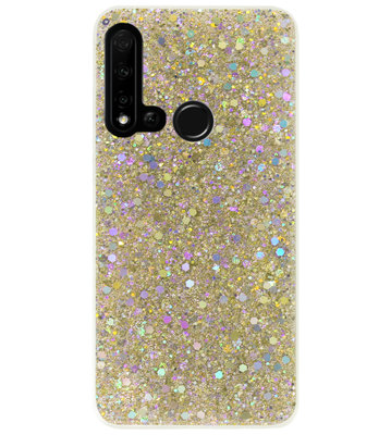ADEL Premium Siliconen Back Cover Softcase Hoesje voor Huawei P20 Lite (2019) - Bling Bling Glitter Goud