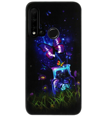 ADEL Siliconen Back Cover Softcase Hoesje voor Huawei P20 Lite (2019) - Vlinder