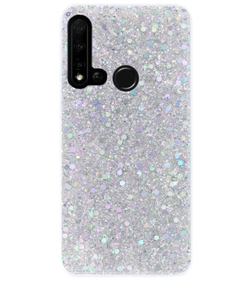 ADEL Premium Siliconen Back Cover Softcase Hoesje voor Huawei P20 Lite (2019) - Bling Bling Glitter Zilver