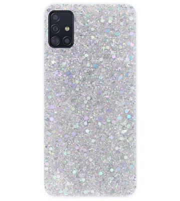 ADEL Premium Siliconen Back Cover Softcase Hoesje voor Samsung Galaxy A71 - Bling Bling Glitter Zilver