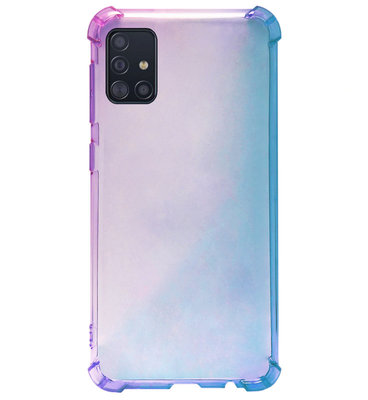 ADEL Siliconen Back Cover Softcase Hoesje voor Samsung Galaxy A71 - Kleurovergang Blauw Paars