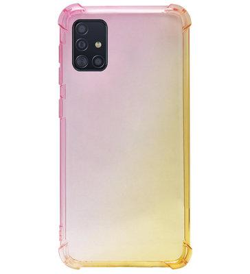 ADEL Siliconen Back Cover Softcase Hoesje voor Samsung Galaxy A71 - Kleurovergang Roze Geel