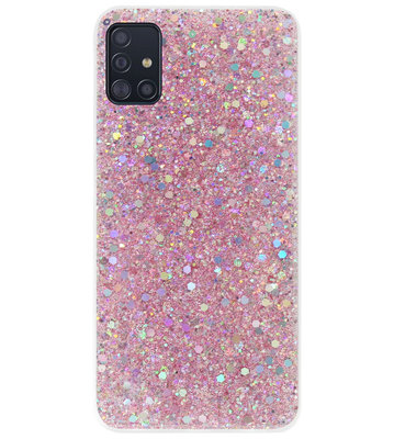 ADEL Premium Siliconen Back Cover Softcase Hoesje voor Samsung Galaxy A71 - Bling Bling Roze