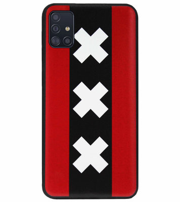 ADEL Siliconen Back Cover Softcase Hoesje voor Samsung Galaxy A71 - Amsterdam Andreaskruisen