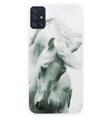 ADEL Siliconen Back Cover Softcase Hoesje voor Samsung Galaxy A71 - Paarden Wit