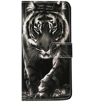 ADEL Kunstleren Book Case Pasjes Portemonnee Hoesje voor Samsung Galaxy A71 - Tijger Zwart