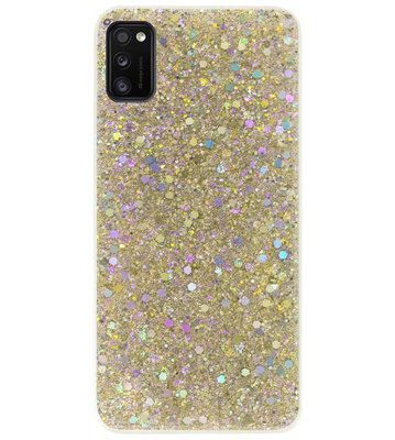 ADEL Premium Siliconen Back Cover Softcase Hoesje voor Samsung Galaxy A41 - Bling Bling Glitter Goud