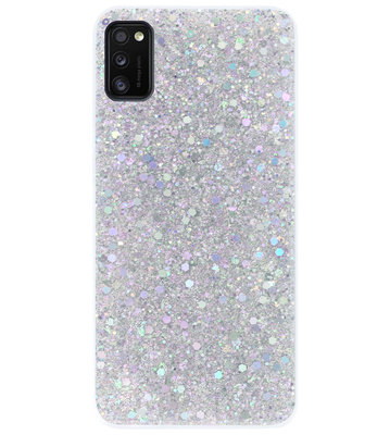 ADEL Premium Siliconen Back Cover Softcase Hoesje voor Samsung Galaxy A41 - Bling Bling Glitter Zilver