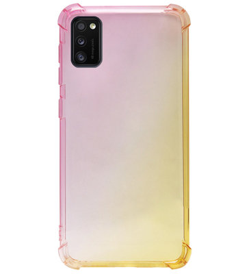 ADEL Siliconen Back Cover Softcase Hoesje voor Samsung Galaxy A41 - Kleurovergang Roze Geel