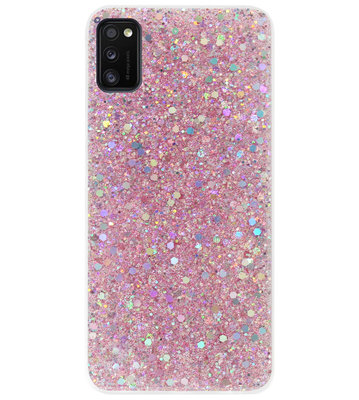 ADEL Premium Siliconen Back Cover Softcase Hoesje voor Samsung Galaxy A41 - Bling Bling Roze