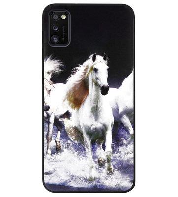 ADEL Siliconen Back Cover Softcase Hoesje voor Samsung Galaxy A41 - Paarden