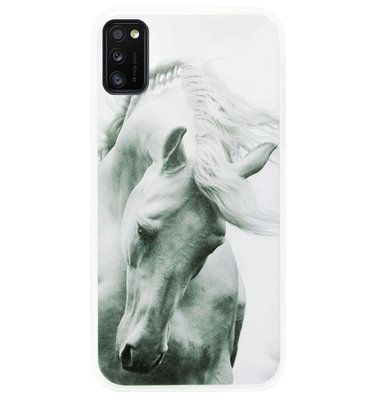 ADEL Siliconen Back Cover Softcase Hoesje voor Samsung Galaxy A41 - Paarden Wit