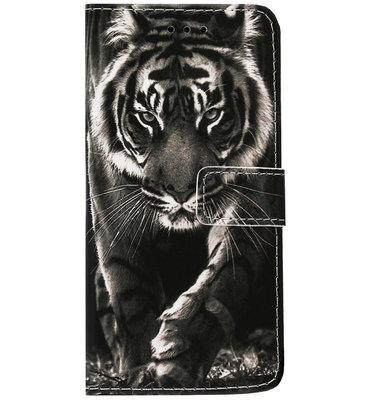 ADEL Kunstleren Book Case Pasjes Portemonnee Hoesje voor Samsung Galaxy A41 - Tijger Zwart