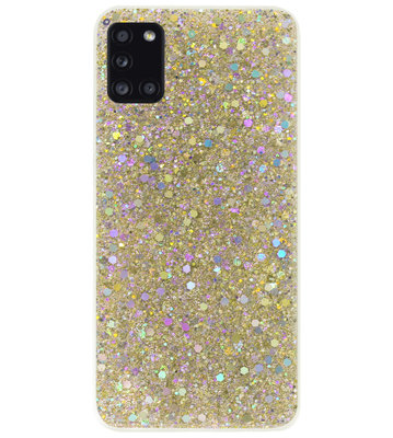 ADEL Premium Siliconen Back Cover Softcase Hoesje voor Samsung Galaxy A31 - Bling Bling Glitter Goud