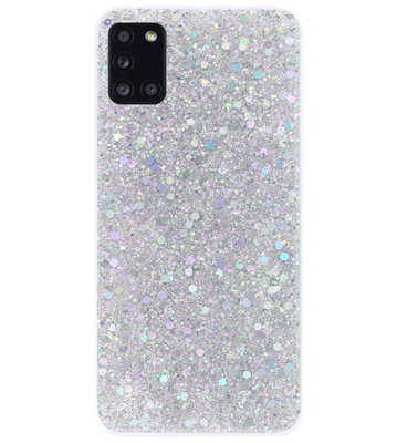 ADEL Premium Siliconen Back Cover Softcase Hoesje voor Samsung Galaxy A31 - Bling Bling Glitter Zilver