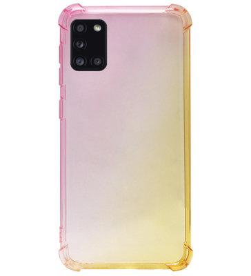 ADEL Siliconen Back Cover Softcase Hoesje voor Samsung Galaxy A31 - Kleurovergang Roze Geel