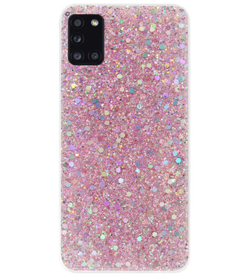ADEL Premium Siliconen Back Cover Softcase Hoesje voor Samsung Galaxy A31 - Bling Bling Roze