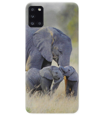 ADEL Siliconen Back Cover Softcase Hoesje voor Samsung Galaxy A31 - Olifant Familie