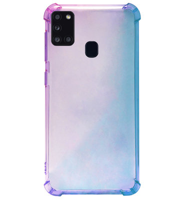 ADEL Siliconen Back Cover Softcase Hoesje voor Samsung Galaxy A21s - Kleurovergang Blauw Paars