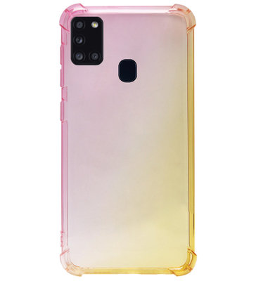 ADEL Siliconen Back Cover Softcase Hoesje voor Samsung Galaxy A21s - Kleurovergang Roze Geel