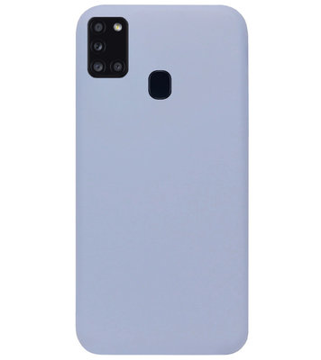 ADEL Premium Siliconen Back Cover Softcase Hoesje voor Samsung Galaxy A21s - Lavendel Grijs