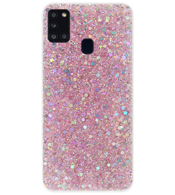 ADEL Premium Siliconen Back Cover Softcase Hoesje voor Samsung Galaxy A21s - Bling Bling Roze
