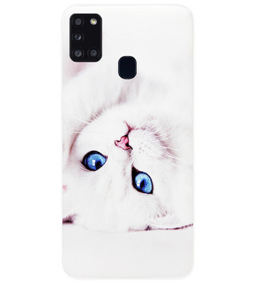 ADEL Siliconen Back Cover Softcase Hoesje voor Samsung Galaxy A21s - Katten