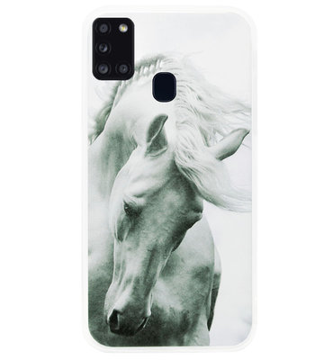 ADEL Siliconen Back Cover Softcase Hoesje voor Samsung Galaxy A21s - Paarden