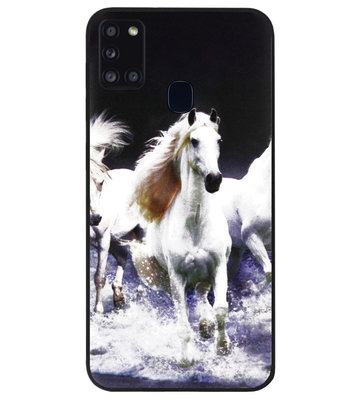 ADEL Siliconen Back Cover Softcase Hoesje voor Samsung Galaxy A21s - Paarden Wit