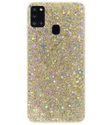 ADEL Premium Siliconen Back Cover Softcase Hoesje voor Samsung Galaxy A21s - Bling Bling Glitter Goud