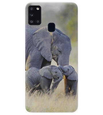 ADEL Siliconen Back Cover Softcase Hoesje voor Samsung Galaxy A21s - Olifant Familie