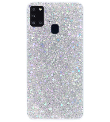 ADEL Premium Siliconen Back Cover Softcase Hoesje voor Samsung Galaxy A21s - Bling Bling Glitter Zilver