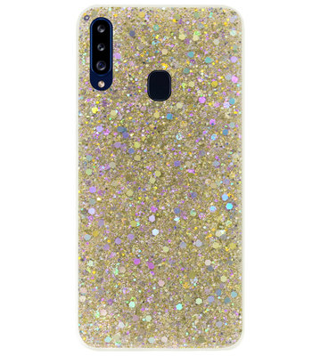 ADEL Premium Siliconen Back Cover Softcase Hoesje voor Samsung Galaxy A20s - Bling Bling Glitter Goud