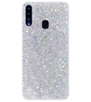 ADEL Premium Siliconen Back Cover Softcase Hoesje voor Samsung Galaxy A20s - Bling Bling Glitter Zilver