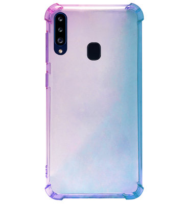 ADEL Siliconen Back Cover Softcase Hoesje voor Samsung Galaxy A20s - Kleurovergang Blauw Paars