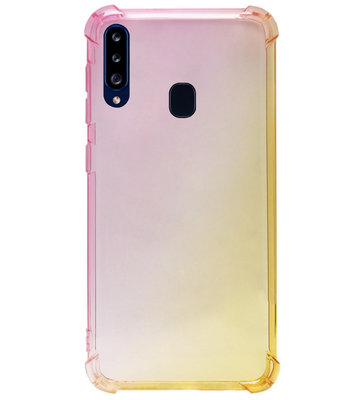 ADEL Siliconen Back Cover Softcase Hoesje voor Samsung Galaxy A20s - Kleurovergang Roze Geel