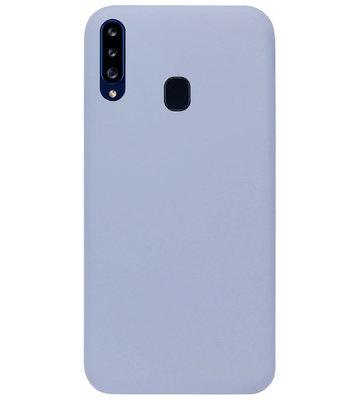 ADEL Premium Siliconen Back Cover Softcase Hoesje voor Samsung Galaxy A20s - Lavendel Grijs