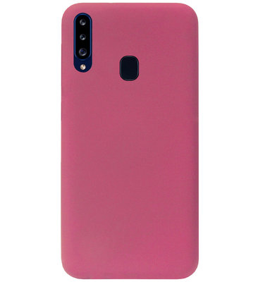 ADEL Premium Siliconen Back Cover Softcase Hoesje voor Samsung Galaxy A20s - Bordeaux Rood