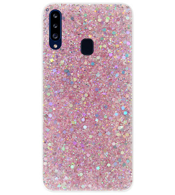 ADEL Premium Siliconen Back Cover Softcase Hoesje voor Samsung Galaxy A20s - Bling Bling Roze