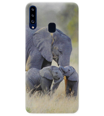 ADEL Siliconen Back Cover Softcase Hoesje voor Samsung Galaxy A20s - Olifant Familie
