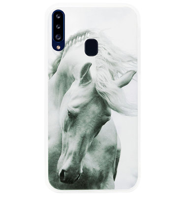ADEL Siliconen Back Cover Softcase Hoesje voor Samsung Galaxy A20s - Paarden