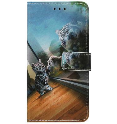 ADEL Kunstleren Book Case Pasjes Portemonnee Hoesje voor Samsung Galaxy A20s - Poezen Tijger