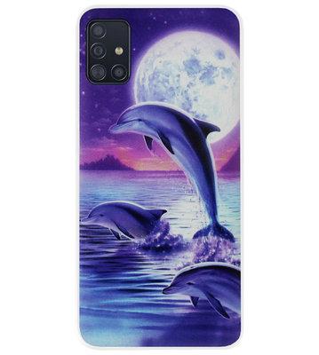 ADEL Kunststof Back Cover Hardcase Hoesje voor Samsung Galaxy A71 - Dolfijn Blauw