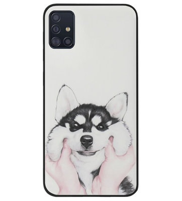 ADEL Siliconen Back Cover Softcase Hoesje voor Samsung Galaxy A71 - Husky Hond