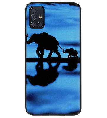 ADEL Siliconen Back Cover Softcase Hoesje voor Samsung Galaxy A71 - Olifant Familie