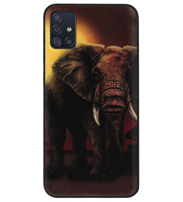 ADEL Siliconen Back Cover Softcase Hoesje voor Samsung Galaxy A71 - Olifanten