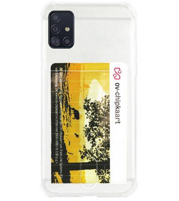 ADEL Siliconen Back Cover Softcase Hoesje voor Samsung Galaxy A71 - Pasjeshouder Doorzichtig